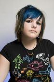 Blue hair teen girl emo gothic