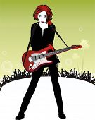 beautyful girl in black with red hair with a rose in her mouth playing the guitar on the stage ,behi