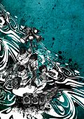artistic hand drawed illustration rock band performance on the stage,abstract grunge background,part