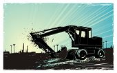 artistic vector illustration describing a bulldozer at sunrise and the city in the distance ,eroded grunge frame background