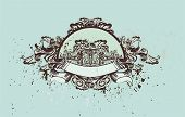 decorative vintage medallion with floral & grunge elements,vector illustration