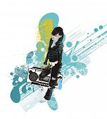 girl with a  boombox,grunge & floral elements,abstract vector