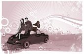 couple sitting on the car and listen music from an old gramophone in the sunrise,vector vintage illu