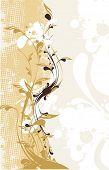 diseño floral decorativo & marco erosionadas grunge, vector