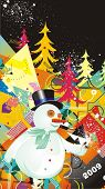 snowman & christmas trees,illustration