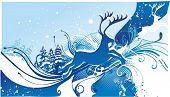 stock photo of rudolf  -  reindeer silhouette on floral winter background - JPG
