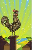 rooster sit on the chimney in the morning,vector illustration