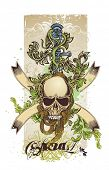 t-shirt design of skull,sword with floral ornaments on grunge background