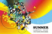 summer illustration,man jumping in the water,colorful graphic ornaments and place for text