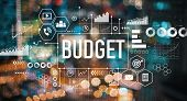 Budget With Blurred City Abstract Lights Background poster