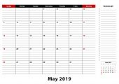 May 2019 Monthly Desk Pad Calendar Week Starts From Sunday, Size A3. May 2019 Calendar Planner With  poster