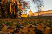 Veliky Novgorod, Russia, Autumn View. Fedor Tower And Clock Tower Of Veliky Novgorod Kremlin At Autu poster