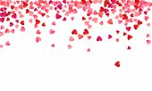 Ruby Red Flying Hearts Bright Love Passion Frame Border Vector Background. Cartoon Confetti Love Sym poster