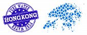 Map Of Hong Kong Vector Mosaic And Pure Water Grunge Stamp. Map Of Hong Kong Formed With Blue Water  poster