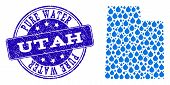 Map Of Utah State Vector Mosaic And Pure Water Grunge Stamp. Map Of Utah State Composed With Blue Aq poster