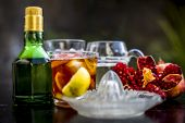 Pamosa Or Pomosa Drink Or Classic Mimosa Drink In A Transparent Glass With Champagne,pomegranate Jui poster