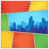 City On Comic Page. Comics Book Frames Composition On Strip Halftone Background. Cartoon Books Vecto poster