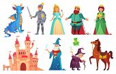 Fairy Tales Characters. Fantasy Knight And Dragon, Prince And Princess, Magic World Queen And King I poster