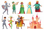 Medieval Characters. Royal Knight With Lance On Horseback, Princess, Kingdom King And Queen Isolated poster