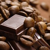 stock photo of cocoa beans  - coffee bean and chocolate - JPG