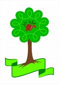 Stylized Pomegranate Tree Logo. Young Pomegranate Tree With Green Leafs, Roots And Pomegranate Fruit poster