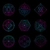 Sacred Geometry Sign With Neon Color. Sacred Geometry Shape poster