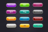 Cartoon Buttons. Colorful Video Game Ui Elements. Restart And Continue, Start And Play Button Set. I poster