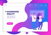 Virtual Reality Concept. People With Vr Future Gadgets. Web Site Vector Template. Vr Gadget Device,  poster