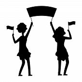 Female Demonstrations Silhouette. Protest, Parade, Demonstration Vector Illustration. Female Demonst poster