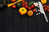 Food Background For Tasty Italian Dishes With Tomato, Pasta, Paprika, Pumpkin And Garlic. Various Co poster