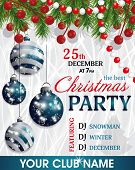 Christmas And New Year Background. Christmas Party Invitation Decoration With Fir Branches, Beads An poster