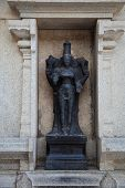 stock photo of lakshmi  - Black stone idol of  goddess Laxmi or Lakshmi in the murudeshwar temple  - JPG