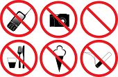 illustration with set of prohibitory signs isolated on white