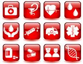 red vector set of medical icons