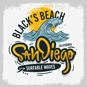 San Diego California United States Usa Surfing Surf  Design  Hand Drawn Lettering Type Logo Sign Lab poster