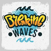 Surfing Surf  Design  Hand Drawn Lettering Type Logo Sign Label For Promotion Ads T Shirt Or Sticker poster