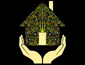 Colored home in open hands