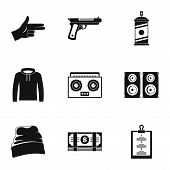 Street Rap Icon Set. Simple Set Of 9 Street Rap Vector Icons For Web Design On White Background poster