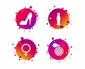 Wedding Dress Icon. Women Shoe Sign. Perfume Glamour Fragrance Symbol. Gradient Circle Buttons With  poster