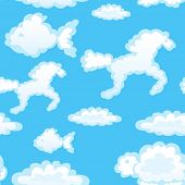 stock photo of baby animal  - Vector of seamless with toy clouds - JPG