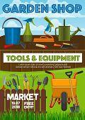 Garden Shop Poster, Farming And Gardening Tools Market Announcement. Vector Gardener Wheelbarrow, Pr poster