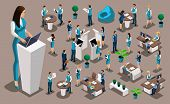 Isometric Set 4, Bank Icons With Bank Employees, Woman Bank Worker, Customer Service Manager. Financ poster