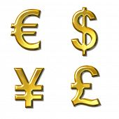 euro, dollar, yen, pound symbols with gold bevel - 4 in 1