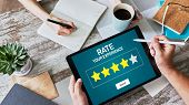 Rate Customer Experience Review. Service And Customer Satisfaction. Five Stars Rating. poster
