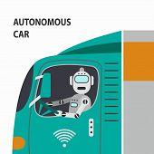 Robot Driving A Car. Autonomous Car. Self Driving Car. Vector Illustration. poster