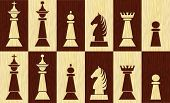 Set Of Chess Pieces On Chessboard Fields, Wooden Inlay Design, White Piece On Black Field, Black Pie poster