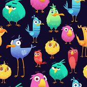 Angry Birds Pattern. Game Parrots And Exotic Baby Cute And Funny Colored Birds. Vector Cartoon Seaml poster