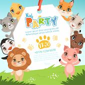 Animals Kids Invitations. Cute Funny Jungle Animals In Cartoon Style Placard At Baby Birthday Celebr poster