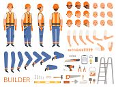 Engineer Character Animation. Body Parts And Specific Tools Of Builder Constructor With Head Body Ar poster