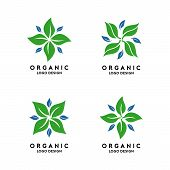 Abstract Organic Logo Template. Green Organic Logo Design poster
